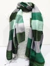 Fair Trade Hand Made Nepal Pashmina Scarf Shawl Striped Green White