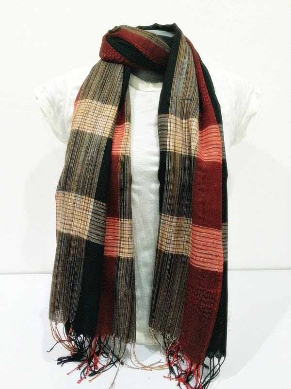 Fair Trade Hand Made Nepal Pashmina Scarf Shawl Plaid Red Black