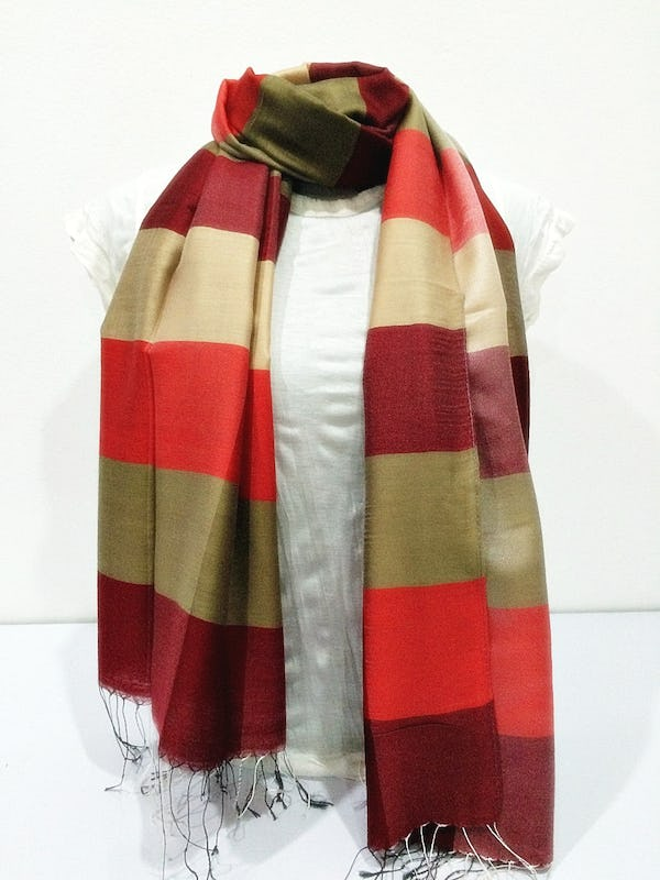 Fair Trade Hand Made Nepal Pashmina Scarf Shawl Striped Red Gold