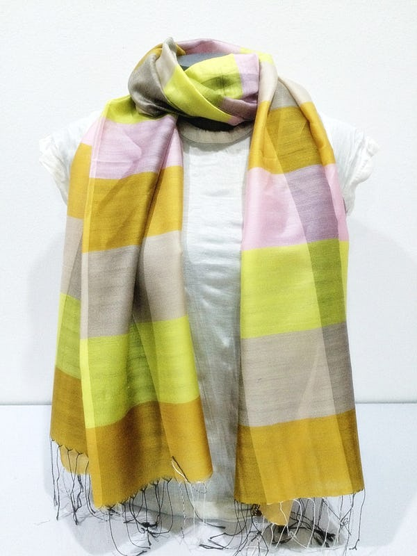 Fair Trade Hand Made Nepal Pashmina Scarf Shawl Striped Yellow Beige