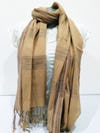Fair Trade Hand Made Nepal Pashmina Scarf Shawl Plaid Beige