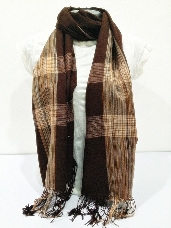 Fair Trade Hand Made Nepal Pashmina Scarf Shawl Plaid Brown