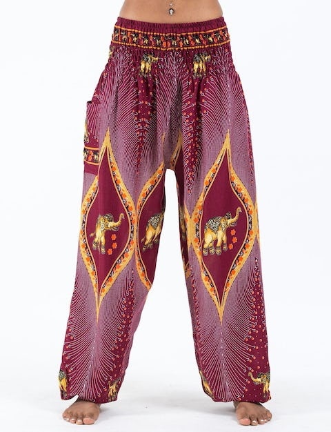 Peacock Elephants Unisex Harem Pants in Red