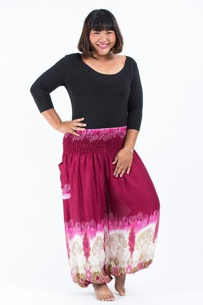 Plus Size Solid Top Elephants Unisex Harem Pants in Margenta