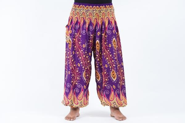 Plus Size Peacock Paisley Unisex Harem Pants in Purple