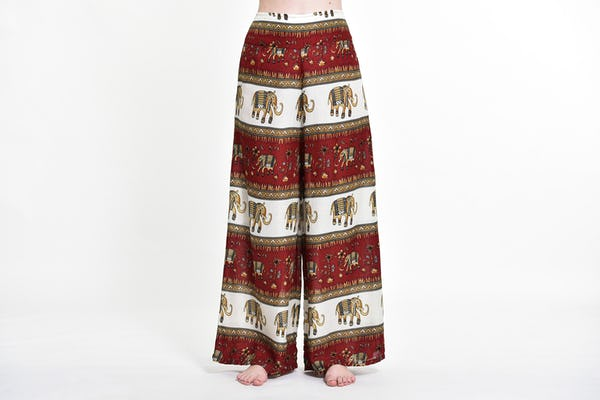 Elephant Bliss Palazzo Style Elephant Pants in Red