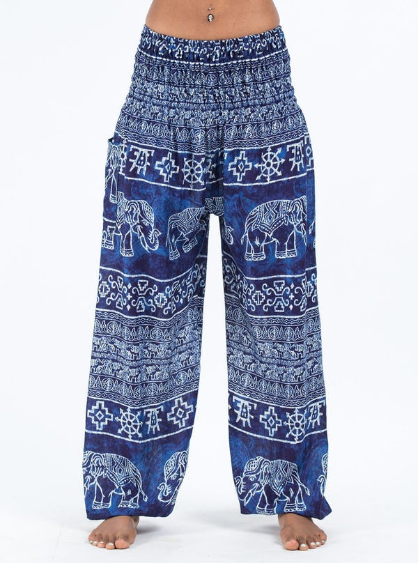 Marble Elephants Unisex Harem Pants in Blue