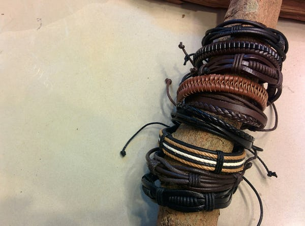 Fair Trade Hand Made Woven Leather Bracelet Rocker Braid with Brown