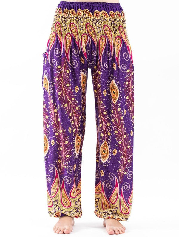Peacock Paisley Unisex Harem Pants in Purple
