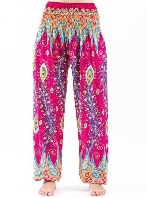Peacock Paisley Unisex Harem Pants in Pink