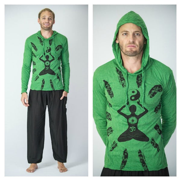 Sure Design Unisex Yin Yang Yoga Hoodie Bright Green
