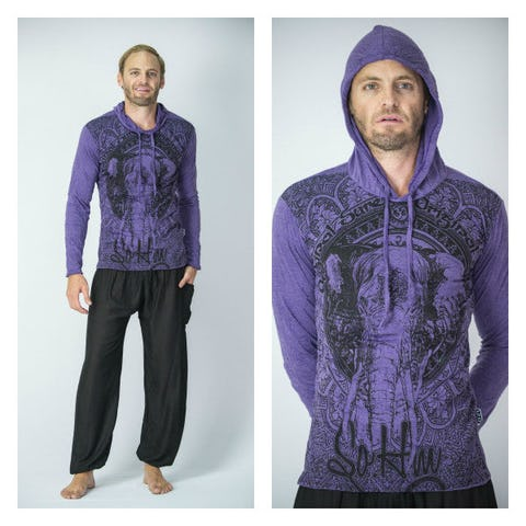Sure Design Unisex Wild Elephant Hoodie Purple