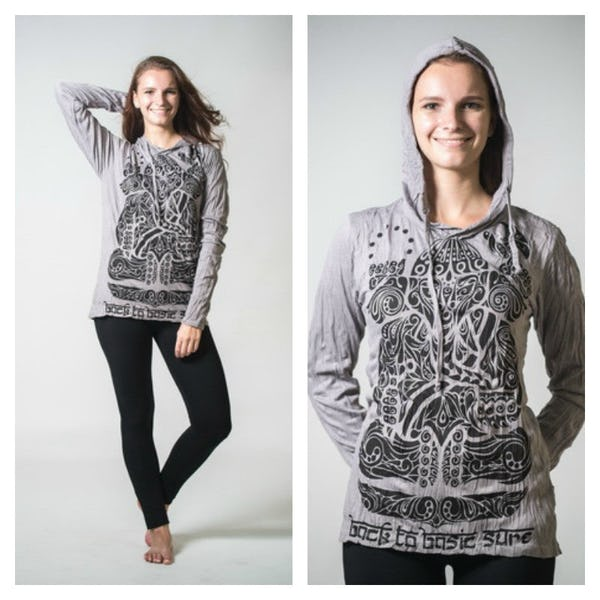 Sure Design Unisex Tattoo Ganesh Hoodie Grey