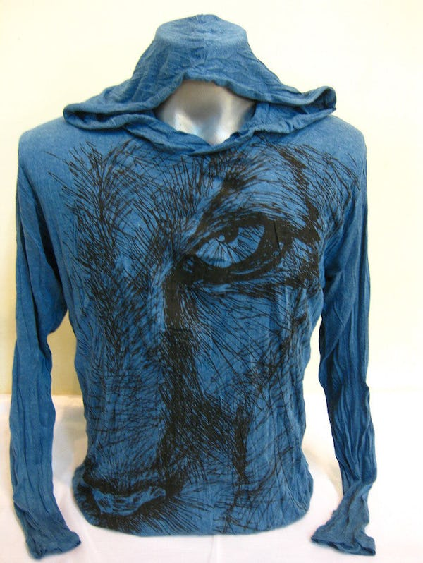 Sure Design Unisex Lions Eye Hoodie Denim Blue
