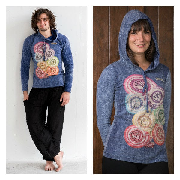 New Sure Design Stone Washed Super Soft Hoodies Chakra Tree Blue