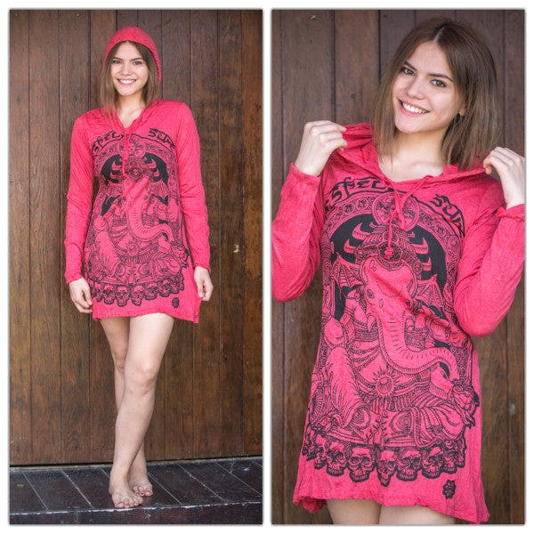 Sure Design Womens Batman Ganesh Hoodie Dress Red