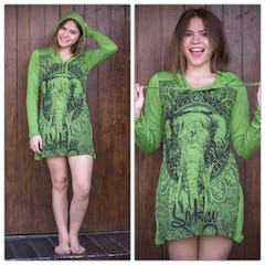 Sure Design Womens Chakra Fractal Hoodie Dress Green