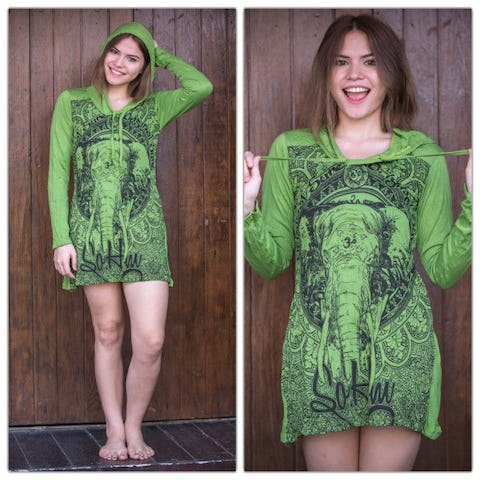 Sure Design Womens Wild Elephant Hoodie Dress Lime