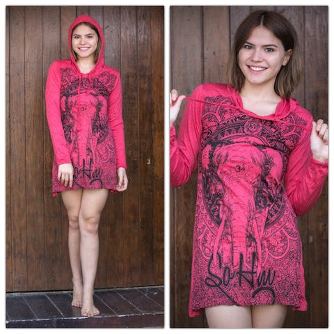 Sure Design Womens Wild Elephant Hoodie Dress Red