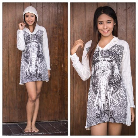 Sure Design Womens Wild Elephant Hoodie Dress White
