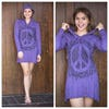 Sure Design Womens Peace Sign Hoodie Dress Purple