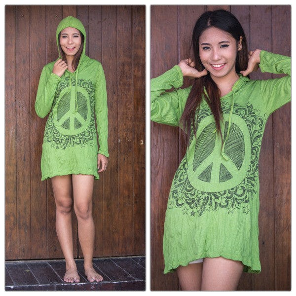 Sure Design Womens Peace Sign Hoodie Dress Lime