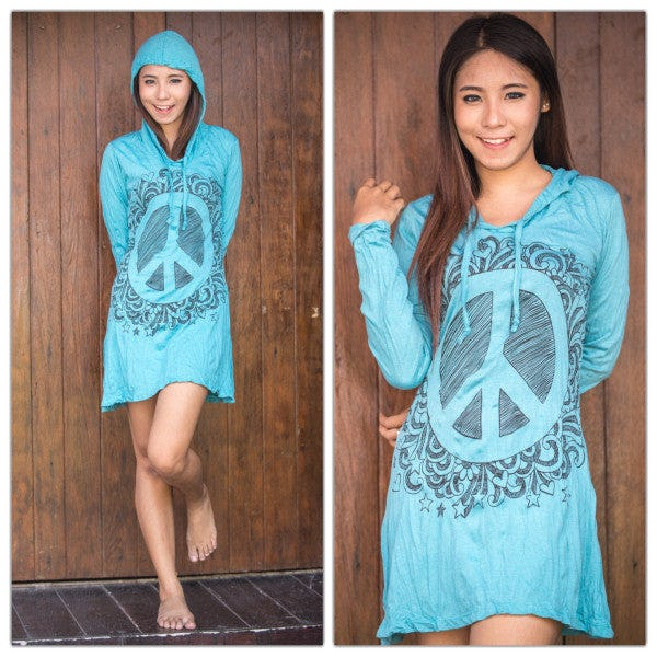 Sure Design Womens Peace Sign Hoodie Dress Turquoise