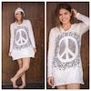 Sure Design Womens Peace Sign Hoodie Dress White
