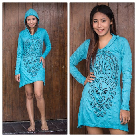 Sure Design Womens Durga Hoodie Dress Turquoise