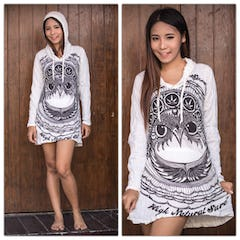 Sure Design Womens DreamCatcher Hoodie Dress Silver on Black