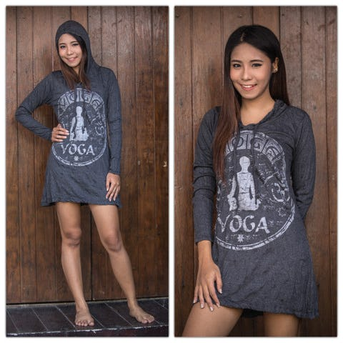 Sure Design Womens Yoga Stamp Hoodie Dress Silver on Black