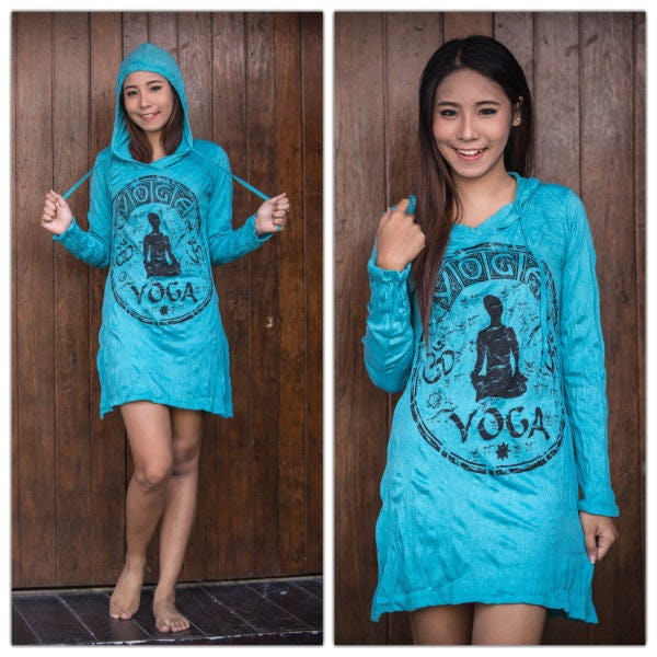 Sure Design Womens Yoga Stamp Hoodie Dress Turquoise
