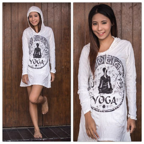 Sure Design Womens Yoga Stamp Hoodie Dress White