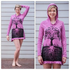 Sure Design Womens Weed Owl Hoodie Dress Pink