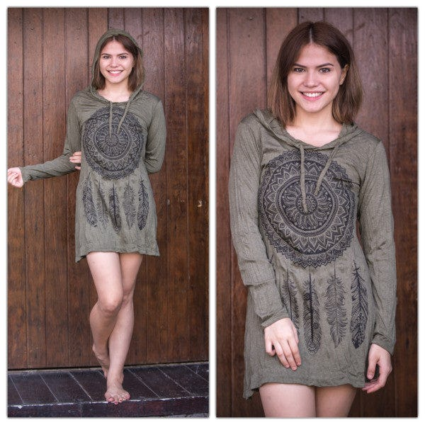 Sure Design Womens DreamCatcher Hoodie Dress Green