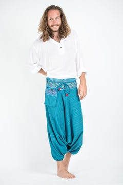 Geometric Mandalas Unisex Low Cut Harem Pants in Blue