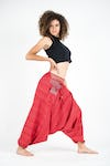 Pinstripe Cotton Low Cut Harem Pants With Hill Tribe Trim Red