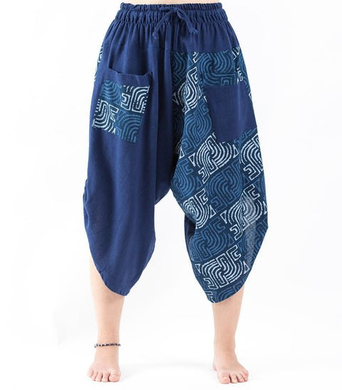 Two Tone Maze Print Unisex Three Quarter Pants in Blue