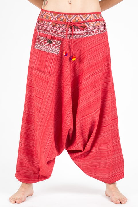Unisex Pinstripe Harem Pants With Hill Tribe Trim in Red