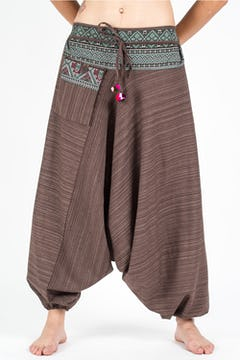 Unisex Pinstripe Harem Pants With Hill Tribe Trim in Blue
