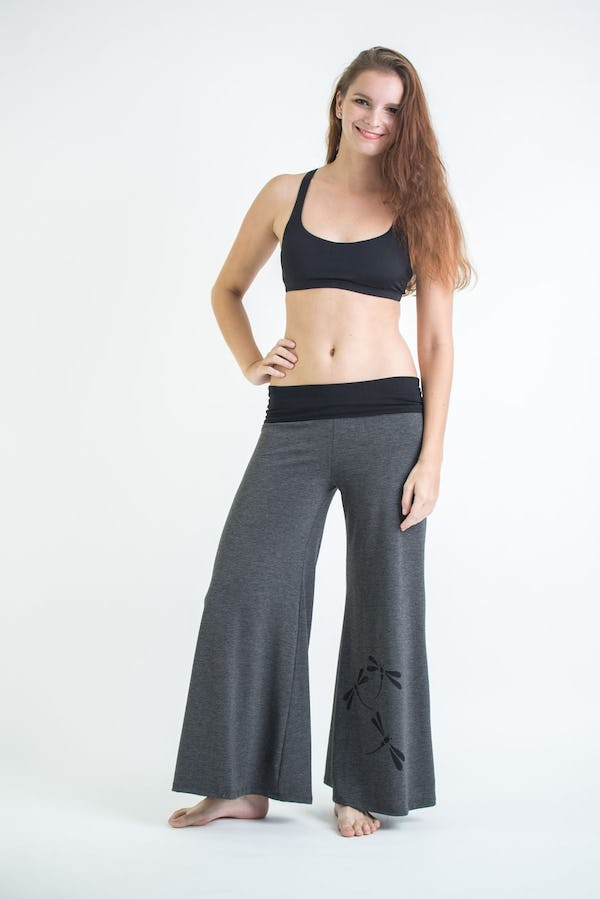 Wide Leg Palazzo Harem Pants Cotton Spandex Printed Dragonflies Gray