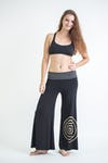 Wide Leg Palazzo Harem Pants Cotton Spandex Printed Spiral Black