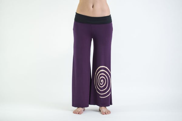 Wide Leg Palazzo Harem Pants Cotton Spandex Printed Spiral Purple