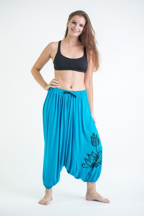 Drawstring Low Cut Harem Pants Cotton Spandex Printed OM Bloom Blue