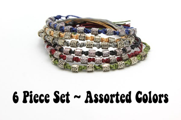 Assorted 6 Piece Set Hand Made Thai Waxed Cotton Woven Bracelet With Tribal Beads