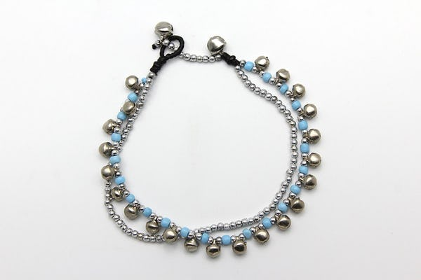 Silver Beads Anklet with Silver Bells in Blue