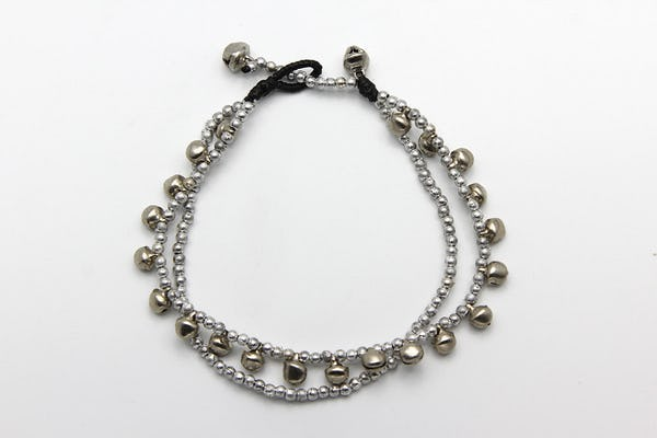 Hand Made Fair Trade Anklet Double Strand Silver Beads