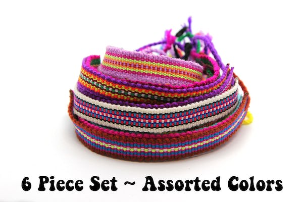Assorted 6 Piece Set Hand Made Thai Cotton Woven Loomed String Friendship Bracelet