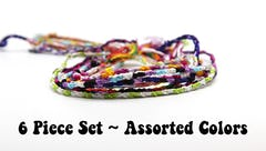 Assorted 6 Piece Set Friendship Hand Made Cotton Woven Round String Bracelet