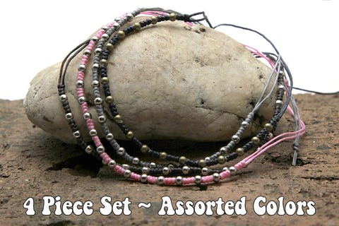 Assorted 4 Piece Set Fair Trade Thai Handmade Waxed Cotton With Beads Bracelet